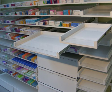 Pharmacy Pullout Shelving System